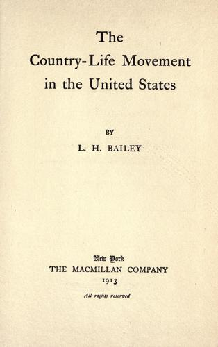 Download The country-life movement in the United States