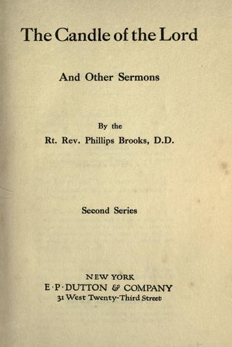 The candle of the lord and other sermons