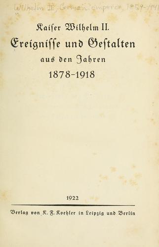 Download Ereignisse und Gestalten aus den Jahren 1878-1918.