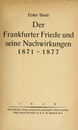 Die grosse politik der europäischen kabinette, 1871-1914.