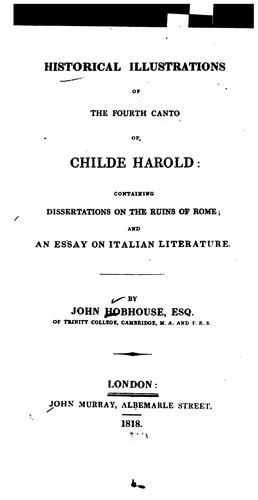 Download Historical illustrations of the fourth canto of Childe Harold