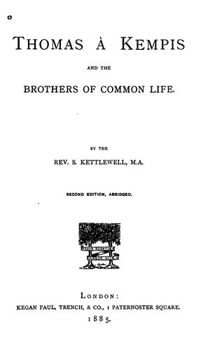 Download Thomas à Kempis and the Brothers of the common life