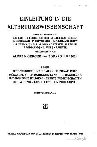Einleitung in die altertumswissenschaft