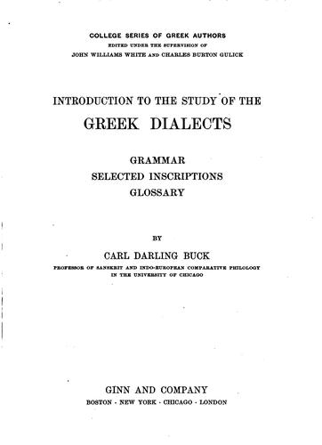 Download Introduction to the study of the Greek dialects
