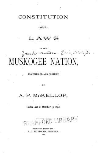 Download Constitution and laws of the Muskogee Nation