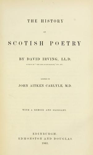 Download The history of Scotish poetry