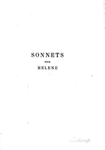 … Sonnets pour Hélène