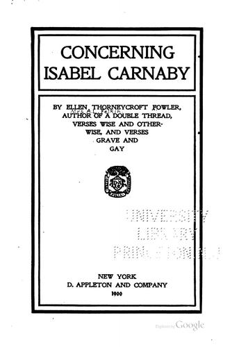 Concerning Isabel Carnaby