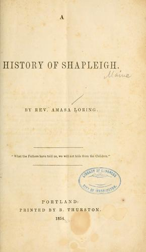 A history of Shapleigh