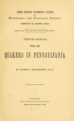 Quakers in Pennsylvania.