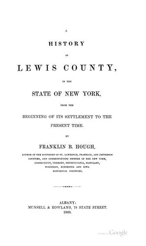 Download A history of Lewis County, in the state of New York