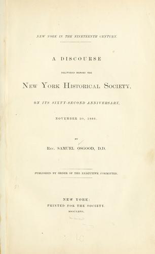 New York in the nineteenth century.