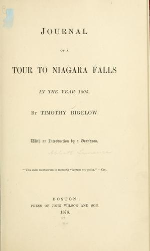 Download Journal of a tour to Niagara Falls in the year 1805