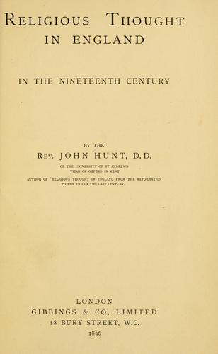 Download Religious thought in England in the nineteenth century
