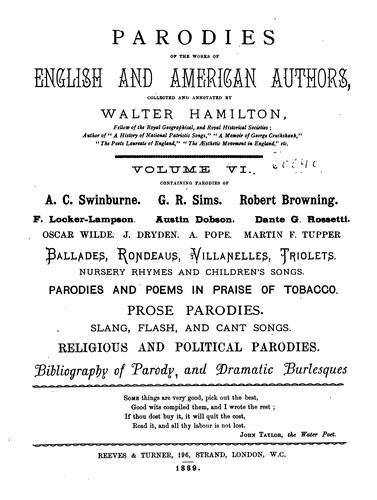 Download Parodies of the works of English & American authors