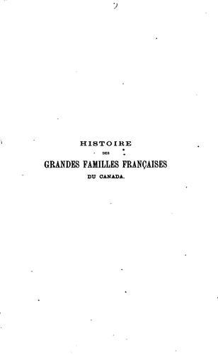 Histoire des grandes familles françaises du Canada