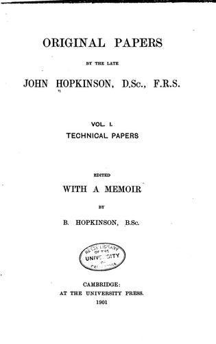 Download Original papers by the late John Hopkinson.