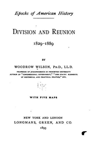 Download Division and reunion, 1829-1889