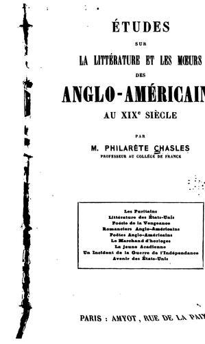 Études sur la littérature et les mœurs des Anglo-Américains au XIXe siècle