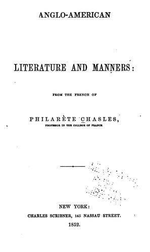 Download Anglo-American literature and manners