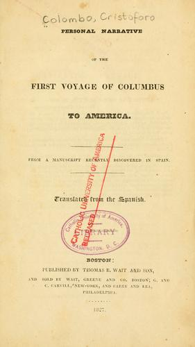 Download Personal narrative of the first voyage of Columbus to America
