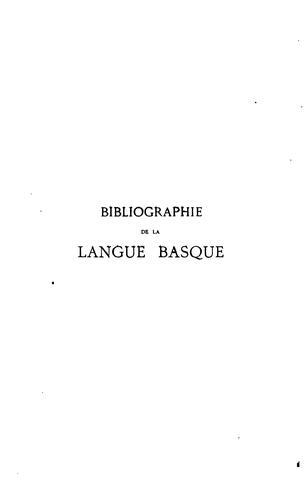 Download Essai d'une bibliographie de la langue basque