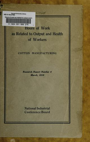 Download Hours of work as related to output and health of workers