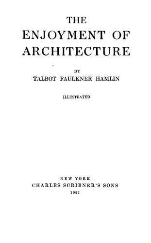 Download The enjoyment of architecture.