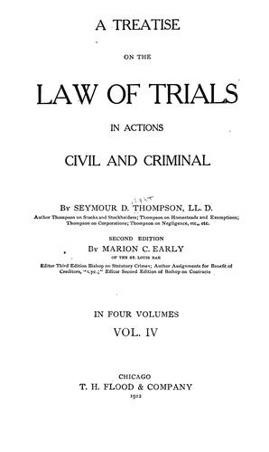 Download A treatise on the law of trials in actions civil and criminal