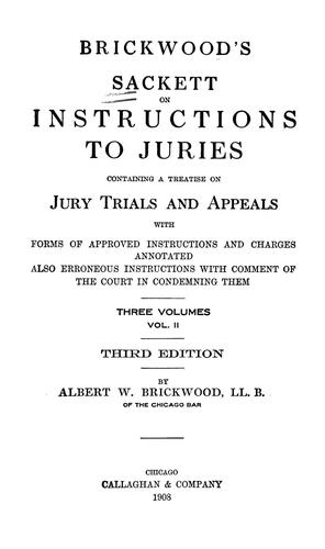 Download Brickwood's Sackett on Instructions to juries