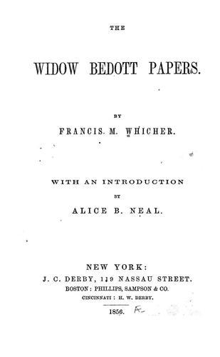 The Widow Bedott papers.