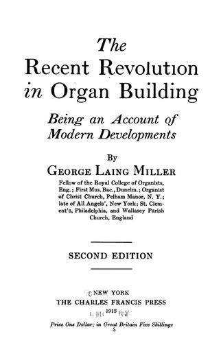 Download The Recent revolution in organ building