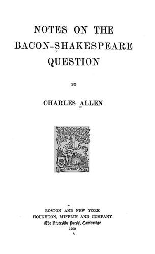 Download Notes on the Bacon-Shakespeare question