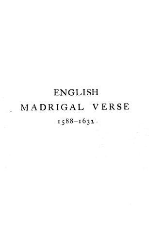 English madrigal verse, 1588-1632