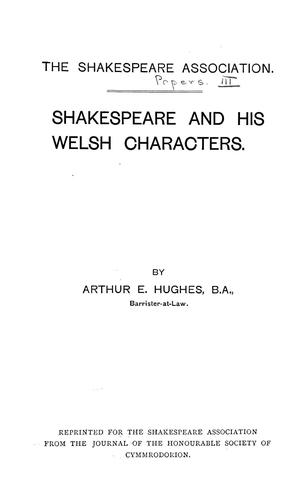 Download Shakespeare and his Welsh characters