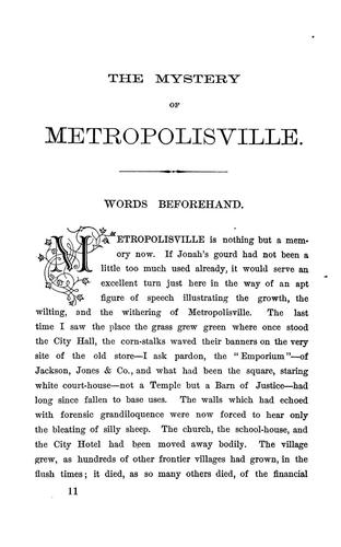 The mystery of Metropolisville.