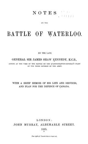 Notes on the battle of Waterloo. (Open Library)