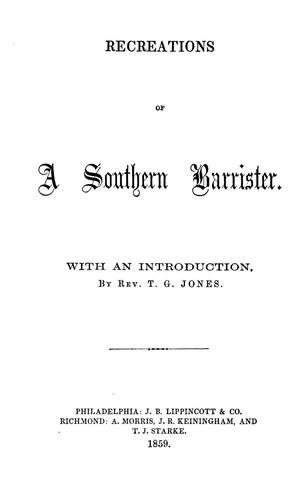 Recreations of a southern barrister.