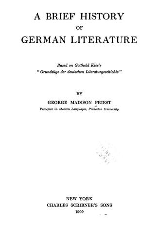 A brief history of German literature.