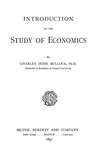 Download Introduction to the study of economics