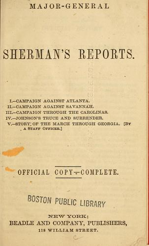 Major-General Sherman's reports by William T. Sherman
