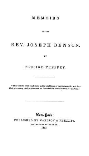 Memoirs of the Rev. Joseph Benson.