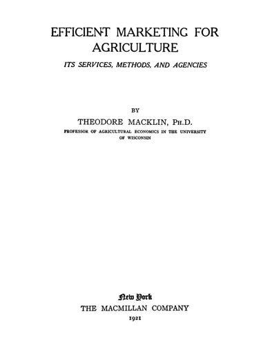 Download Efficient marketing for agriculture
