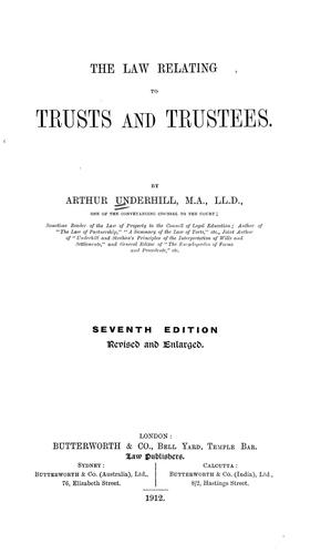 The law relating to trusts and trustees.
