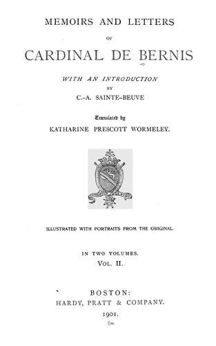 Download Memoirs and letters of Cardinal de Bernis