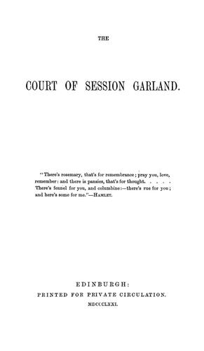 Download The Court of session garland.