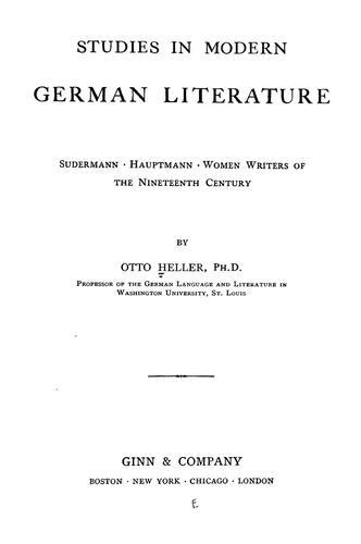 Studies in modern German literature