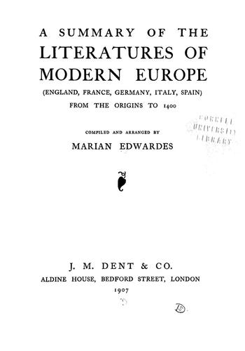 A summary of the literatures of modern Europe