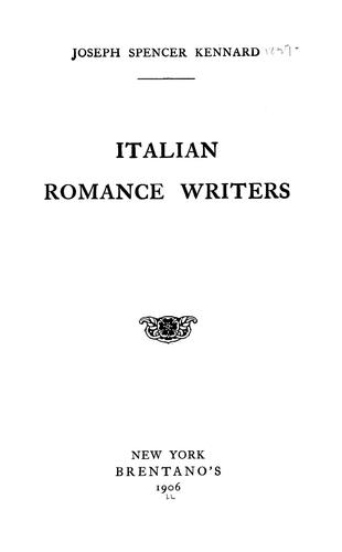 Italian Romance Writers, Kennard, Joseph Spencer