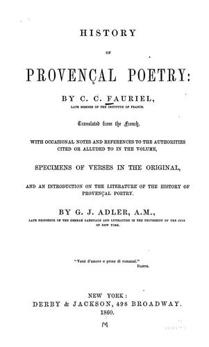 Download History of Provençal poetry